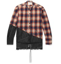 Greg Lauren Birdwell Grandad Collar Panelled Distressed Checked Cotton Flannel And Nylon Shirt Orange