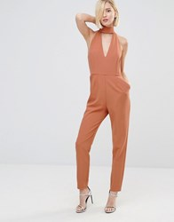 Lavish Alice Keyhole High Neck Deep Plunge Jumpsuit Deep Tan