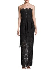 Milly Floral Lace Cascade Strapless Gown Black
