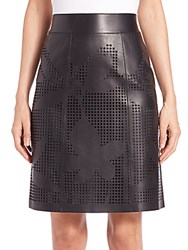 Lafayette 148 New York Madeline Laser Cut Faux Leather Skirt Black