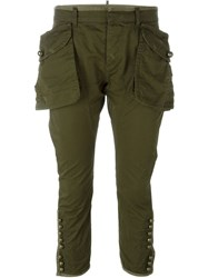 Dsquared2 Oversized Pocket Crop Trousers Green