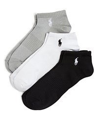 Ralph Lauren Polo Arch Support Ankle Socks Set Of 3 White Black Grey