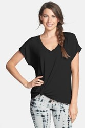Hard Tail 'Siro' Slouchy V Neck Tee Black