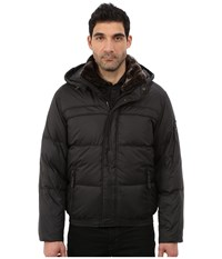 Marc New York Fauxmula Down Filled Bomber W Faux Fur Trimmed Collar And Removable Hood Black Men's Coat