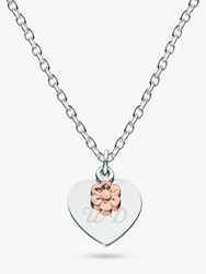 Kit Heath Personalised Girls Flower And Heart Pendant Necklace Silver Rose Gold