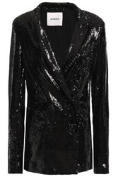 Ainea Woman Sequined Woven Jacket Black