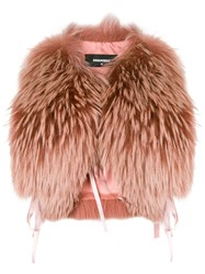 Dsquared2 Raccoon Fur Stole Pink And Purple
