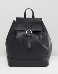 Pieces Simple Backpack With Buckle Fastening Black