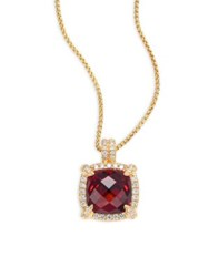 David Yurman Chatelaine Pave Bezel Pendant Necklace With Garnet And Diamonds In 18K Yellow Gold
