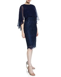63daabe3aa864 Rickie Freeman For Teri Jon Sequin Draped Sleeve Lace Sheath Dress With  Chiffon Capelet Navy