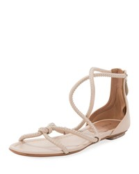 Alaia Twisted Studded Flat Leather Sandals Nude