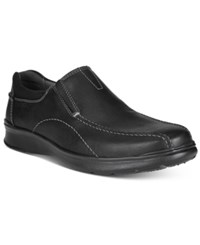 Clarks Men's Cotrell Step Bike Toe Casual Slip Ons Men's Shoes Black Oily Leather