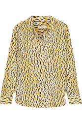 Equipment Leopard Print Washed Silk Shirt Yellow
