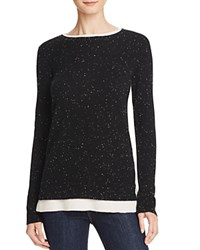 Bloomingdale's C By Color Block Double Crew Cashmere Sweater Black Donegal Ivory