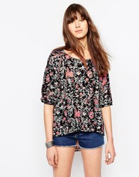 Only Clematis Sima Floral 3 4 Sleeve Blouse Black Aop Clemtais