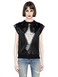 Saint Laurent Sleeveless Faux Patent Sweatshirt