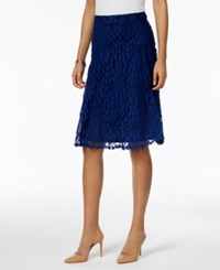 Ny Collection Petite Lace A Line Skirt Navy Ivyvine