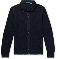 Incotex Chioto Slim Fit Waffle Knit Linen And Cotton Blend Cardigan Blue