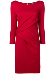 Emporio Armani Ruched Fitted Midi Dress Red