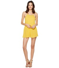 Brigitte Bailey Brooklynn Spaghetti Strap Romper With Grommets Marigold Women's Jumpsuit And Rompers One Piece Yellow