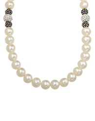Lord And Taylor Sterling Silver Pearl Crystal Necklace With Oxidized Beads