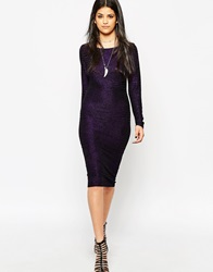 Rock And Religion Long Sleeve 70'S Glitter Bodycon Dress Black