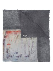Avant Toi Abstract Print Scarf Grey