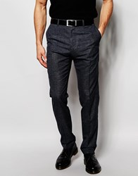 Reiss Wool Trousers With Fleck In Slim Fit Black