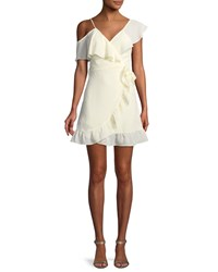 Donna Mizani Selena V Neck Faux Wrap Ruffled Pebbled Georgette Mini Dress White