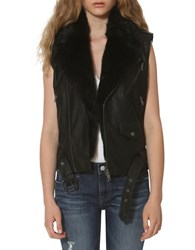 Vigoss Faux Fur Trimmed Moto Vest Black