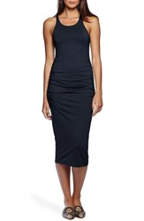 Women's Michael Stars Ruched Side Racerback Midi Dress Nocturnal