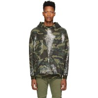 R 13 R13 Green Camouflage Sequined Hoodie