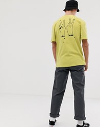 Volcom Cut Rope T Shirt With Back Print In Green