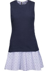 Derek Lam 10 Crosby By Layered Cotton Jersey And Embroidered Gingham Cotton Mini Dress Midnight Blue
