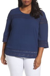 Sejour Plus Size Women's Lace Inset Top Navy Medieval