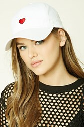 Forever 21 Embroidered Heart Dad Cap White Red
