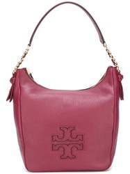 Tory Burch Logo Print Shoulder Bag Pink Purple