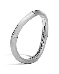 John Hardy Brushed Sterling Silver Bamboo Curved Hinged Bangle