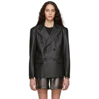 Misbhv Black Leather Double Breasted Blazer