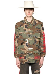 Off White Camo Printed Cotton Canvas Field Jacket Military Green