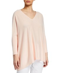 Joan Vass Plus Size Oversized V Neck Ribbed Sleeve Cotton Sweater Pink
