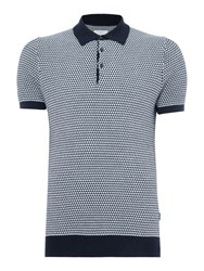 Peter Werth Men's Carlyle Geometric Leaf Knit Cotton Polo Navy