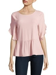 Ivanka Trump Cascade Sleeve Peplum Top Blush Pink