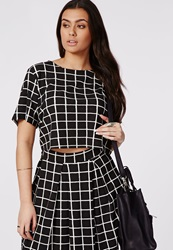 Missguided Plus Size Grid Print Crop Top Black