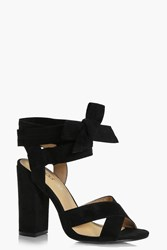 Boohoo Wide Fit Wrap Strap Heels Black