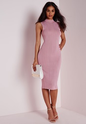 Missguided Sheer Vertical Stripe Knitted Dress Blush Pink