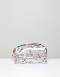 New Look Clear Cherry Print Make Up Bag Red