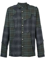 Mostly Heard Rarely Seen Distressed Plaid Shirt Green