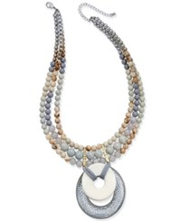 Macy's Two Tone Wood And Stone Beaded Three Layer Pendant Necklace Silver