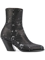 A.F.Vandevorst Sequinned Mid Calf Boots Black